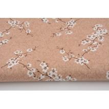 Bawełna 100%, gałązki kwitnącej wiśni na beżowym tle