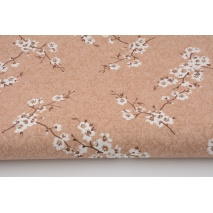 Cotton 100% twigs of blossoming cherry on a beige background