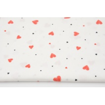 Cotton 100% drawn red hearts