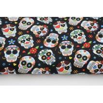 Cotton 100%, colored skulls on a black background, poplin