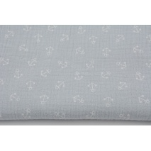 Double gauze 100% cotton, small anchors on a light gray background