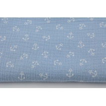 Double gauze 100% cotton, small anchors on a blue background