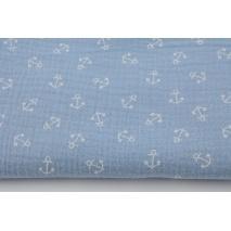 Muślin bawełniany, białe kotwice na niebieskim tle