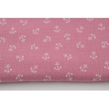 Double gauze 100% cotton, small anchors on a lipstick pink background
