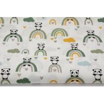 Cotton 100% pandas on green rainbows, poplin