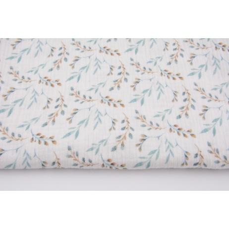 Double gauze 100% cotton, blue-beige twigs, digital print