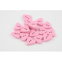 Wooden button, pink heart