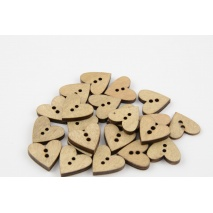 Wooden button in a pattern of beige heart