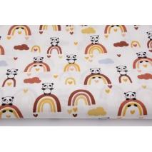 Cotton 100% pandas on brick red rainbows, poplin