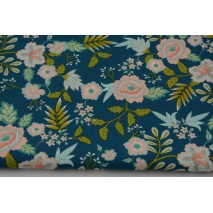 Cotton 100% salmon-turquoise flowers on petrol, poplin