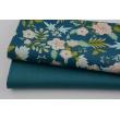 Cotton 100% salmon-turquoise flowers on petrol, poplin