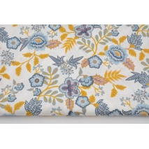 Cotton 100%, blue-mustard flowers on white background