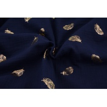 Double gauze 100% cotton golden feathers on navy background