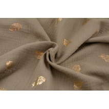 Double gauze 100% cotton golden feathers on a dark beige background