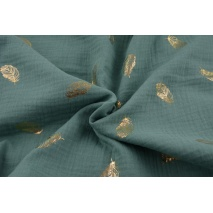 Double gauze 100% cotton golden feathers on a sage background