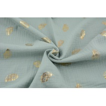 Double gauze 100% cotton golden feathers on a powder mint background