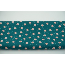Cotton 100% flowers, dots on petrol, poplin