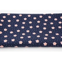 Cotton 100% flowers, dots on navy, poplin