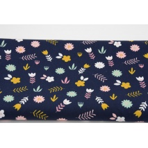 Cotton 100% mint and pink flowers on navy, poplin