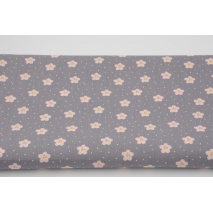 Cotton 100% flowers, polka dots on gray, poplin