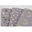 Cotton 100% mustard and pink flowers on gray, poplin