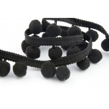 Ribbon black pom poms