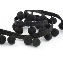 Tasiemka z pomponami czarna (mała)