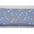 Cotton 100% green and pink flowers, polka dots on a blue, poplin