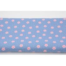 Bawełna 100%, kwiatki, kropki na niebieskim tle, popelina