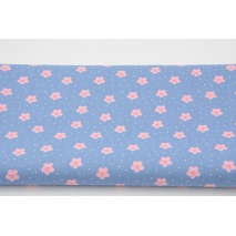 Cotton 100% flowers, polka dots on a blue, poplin