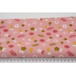 Cotton 100% green and pink flowers, on a powder pink background, poplin