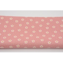 Cotton 100% flowers, polka dots on a powder pink, poplin