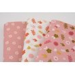 Cotton 100% flowers, polka dots on a powder pink, poplin