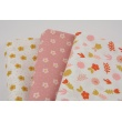 Cotton 100% ginger and pink flowers on a white background, poplin