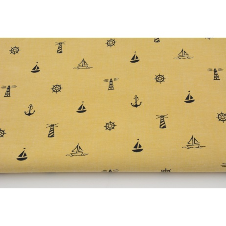 Cotton 100% black sailing motifs on a mustard background