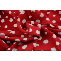 Viscose 100% spots, polka dots on a red background