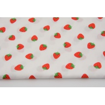 Cotton 100%, strawberries on white, poplin