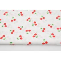 Cotton 100%, cherries on white, poplin