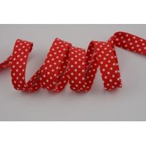 Lamówka bawełniana, czerwona w kropeczki 18mm