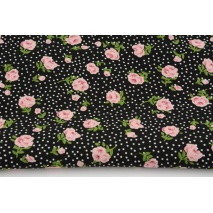 Viscose 100%, small roses on a black, dotted background