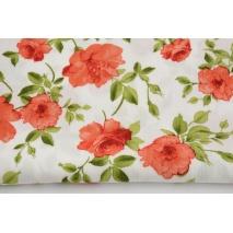 Crepe viscose fabric, orange flowers on ivory background