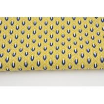 Cotton 100% navy teardrops on a mustard background RW, poplin