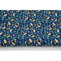 Cotton 100% turquoise and mustard leaves on a navy background, poplin