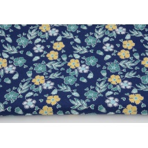 Cotton 100% turquoise and mustard flowers on navy background RW, poplin