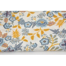 Coated cotton blue-mustard flowers on white background