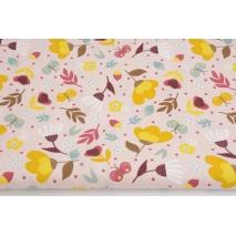 Cotton 100%, mustard flowers on a dirty pink background, poplin