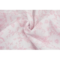 Double gauze 100% cotton, pink birds, flowers on a white background