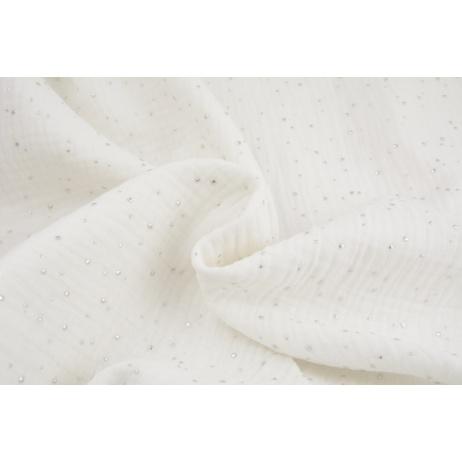Double gauze 100% cotton silver mini dots on a white background