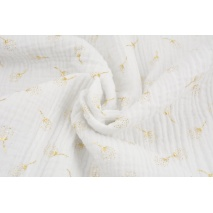 Double gauze 100% cotton golden dandelions on a white background No.2