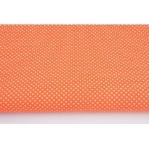 Bawełna 100% kropki białe 2mm na pomarańczowym tle